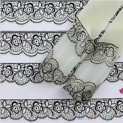 HOT 3D Lace Flower French Nail Art Stickers Manicure Nail Decals Tips Black CAEF