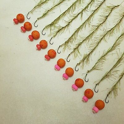 10 x WEED EFFECT HAIR RIGS LOADED WITH 15MM STRAWBERRY OOZE POPUPS FLYNSCOTMAN