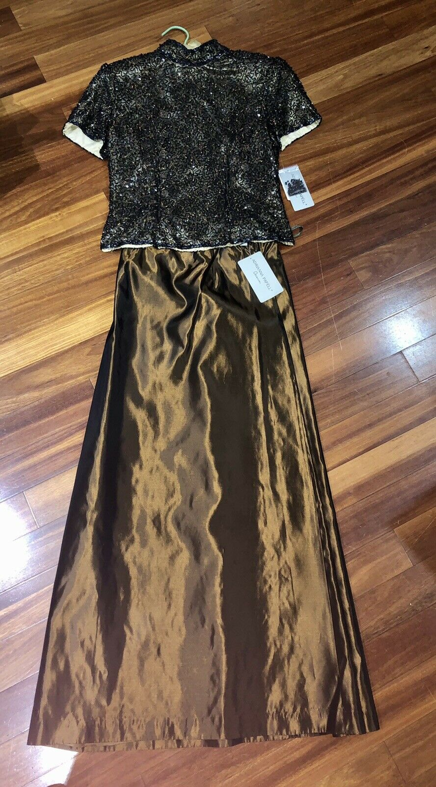 Adrianna Papell 6 petite 2 piece formal wear Mother of the Bride Black Sequence