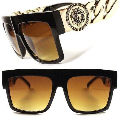 Look Rich Hip Hop Rapper OG Stylish Gold Link Chain Brown Lens Square Sunglasses