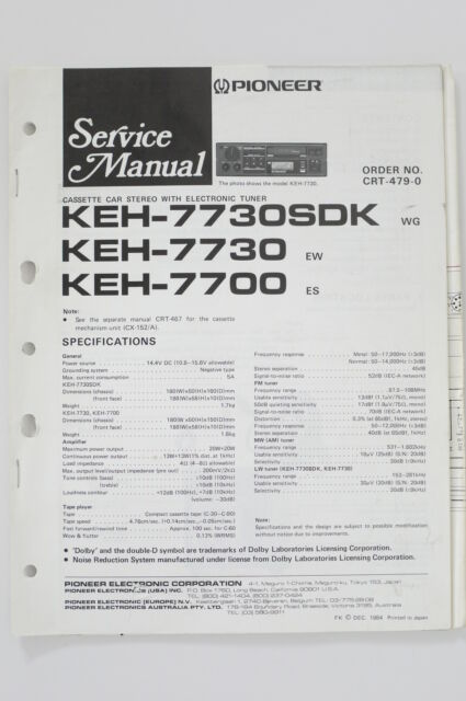 Pioneer Keh  Sdk   7700 Original Service Manual