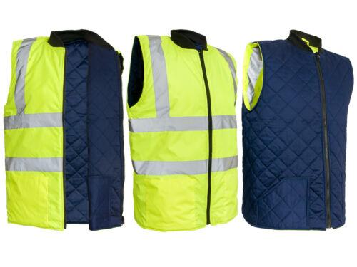 Inverno Gilet di sicurezza lavoro Gilet Bodywarmer foderato 2-lati giallo bzrflash