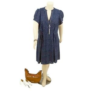CITY-CHIC-Navy-Blue-Spotted-Fit-amp-Flare-with-Pockets-Dress-Plus-Size-L-20