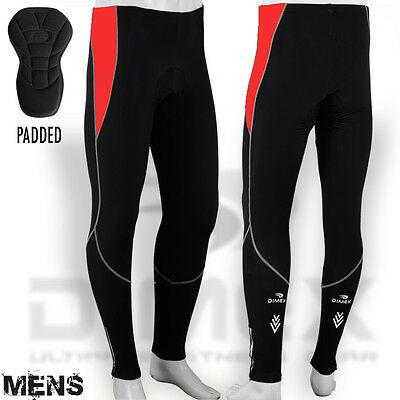 Mens Winter Cycling Tights Pant Trouser Cycle Winter Thermel Legging Padded Red