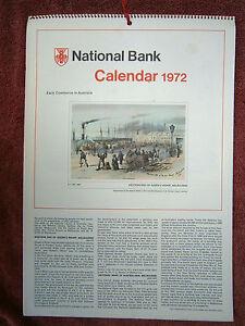 National Australia Bank 1972 Calendar Early Commerce Paintings