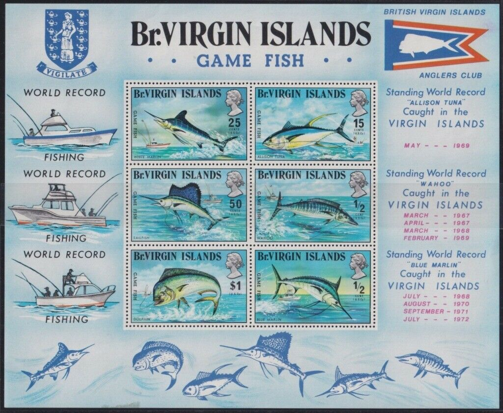 F-EX26217 BRITISH VIRGIN MNH 1972 SEA MARINE FISHING RECORD FISH TUNA MARLIN...