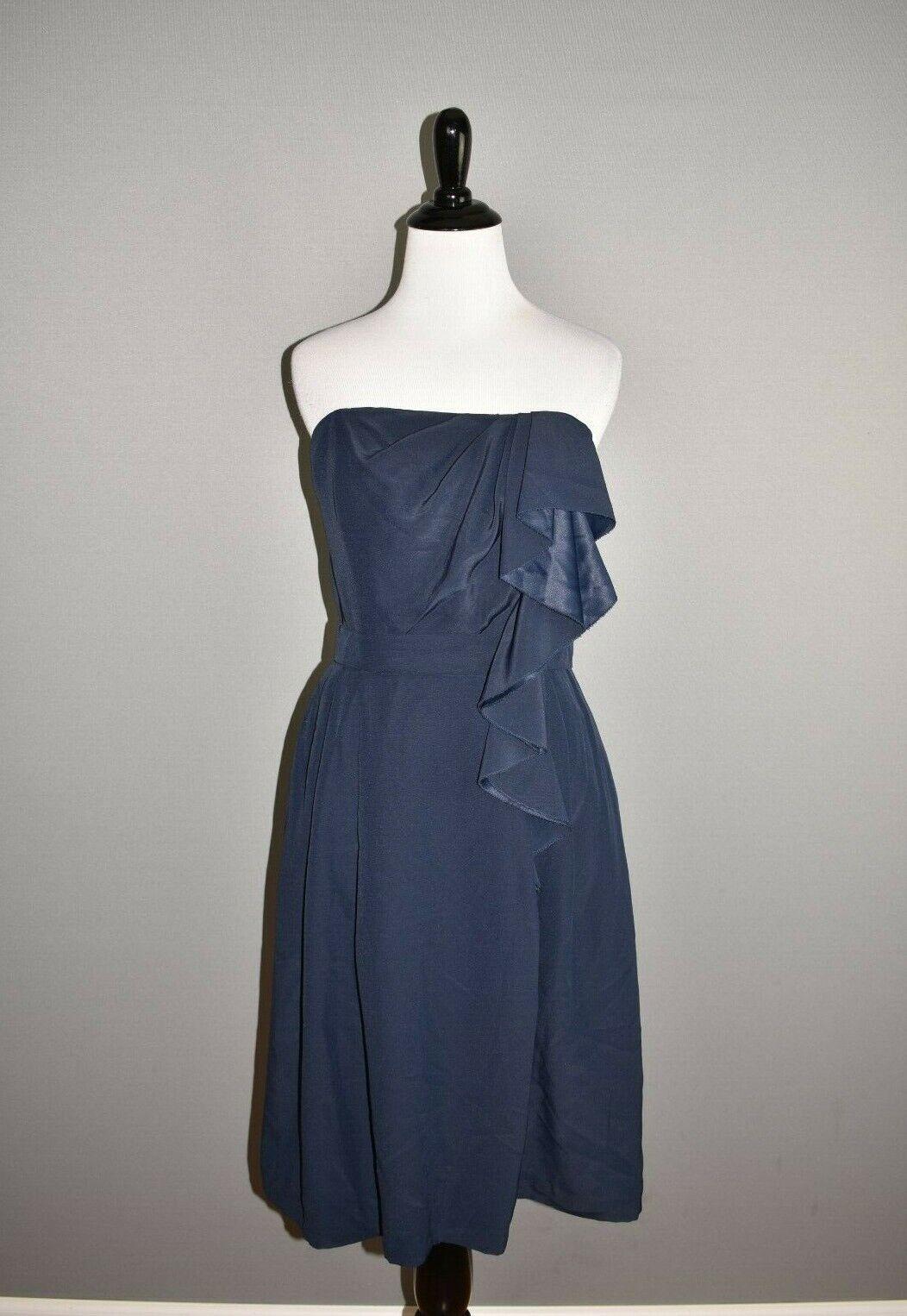 LELA ROSE NEW Midnight Navy Strapless Bridesmaid Dress Size 8