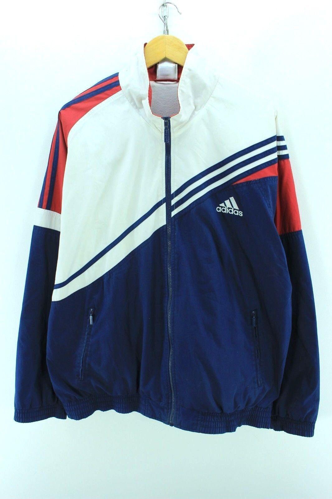 Veste de survêtement Vintage Adidas pour Homme Taille L XL Top de survêtement multi-zip complet EF2084