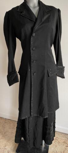 Edwardian Wool Crepe & Silk Satin Walking Suit Jac
