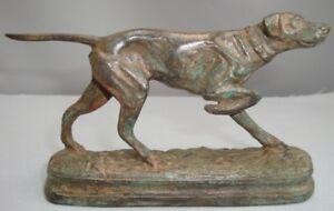 Statue-Chien-Setter-Chasse-Animalier-Style-Art-Deco-Bronze-massif-Signe