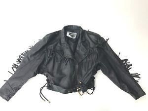 Perfecto Fringe Pelle Biker Jacke Jacket Tv Black Cd Sexy Jacket Leder Coat X7PPvw