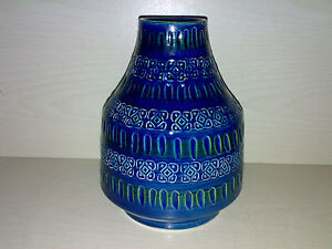 Vase-BITOSSI-ALDO-LONDI-B-4-Studio-Pottery-Italy-Blau-Blue-Rimini-H-20-cm-LOOK