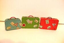 Vintage 1950s Tin Litho Modern Toys Japan Suitcases Set of 3 Miniature Doll