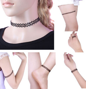 Women-Tattoo-Choker-Stretch-Necklace-Bracelet-Ring-Anklet-Retro-Henna-For-Women