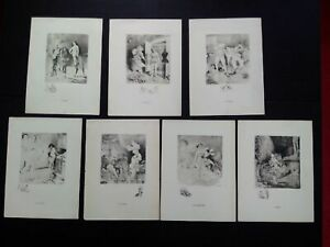 Rare-curiosa-A-willette-series-7-deadly-sins-signed-engravings-prints