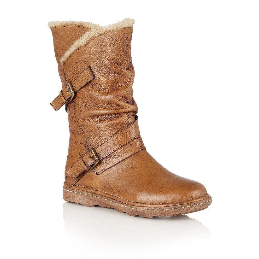 Lotus Jolanda Tan Leather Calf Length Boots