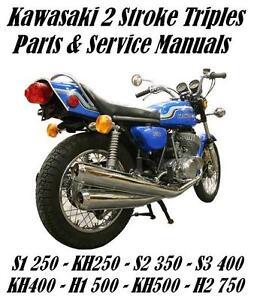 Kawasaki-H1-H2-KH-Two-Stroke-350-400-500-750-Triples-Repair-Service-Parts-Manual