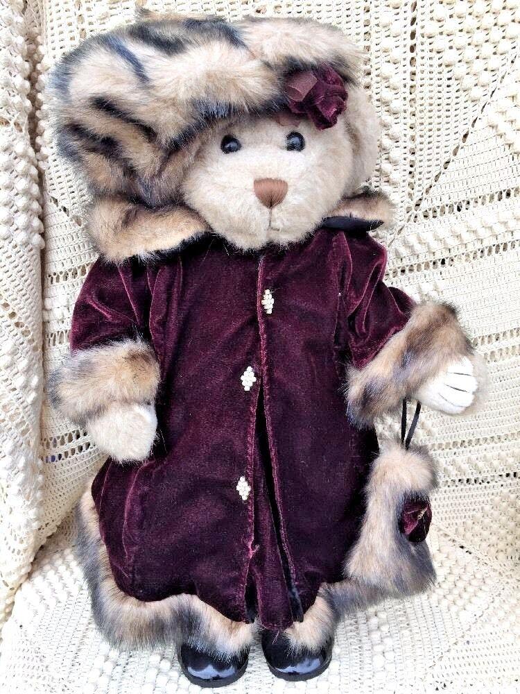 Antique Bear 19  Victorian LADY Mink Stole HAT FUR MUFF Patent Leather scarpe