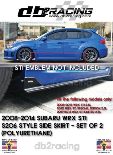 PU S206-Style Side Skirts Fits 08-14 Impreza WRX STi SUBIE AWD JDM