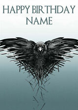 Game Of Thrones Raven Crow **Personalised Birthday Card** Any Name Large (GT4)