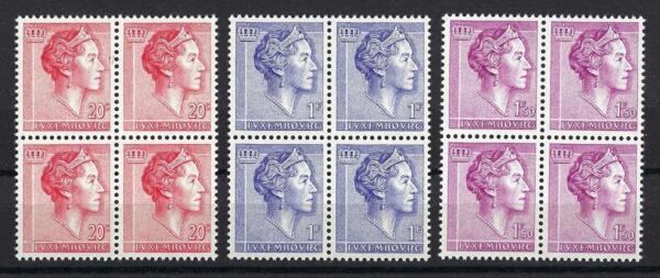 AgréAble Luxembourg 1960 Sc # 363/67 Grande-duchesse Charlotte Blocs 4 Neuf Sans Charnière Chaud Et Coupe-Vent