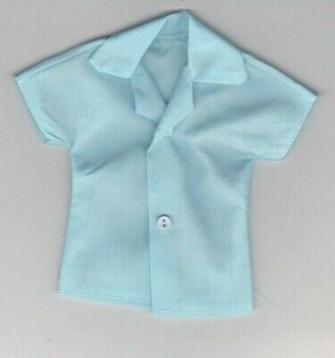 Homemade Doll Clothes-Dark and Light Turquoise Print Shirt that fits Ken Doll B2