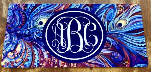 Feather License Plate Monogram Car Tag New Blue Boho Monogram Feather Car Tag