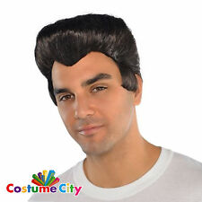 Adults 1950's Greaser Wig 50s Rock and Roll Elvis Fancy Dress Costume Accessory