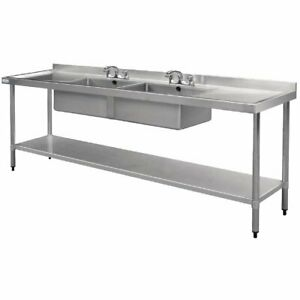 COMMERCIAL-Double-Bowl-Kitchen-Sink-STAINLESS-STEEL-BENCH-Double-Drainer-2400mm