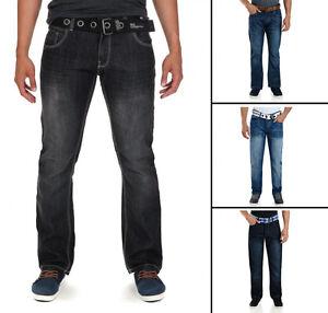 Crosshatch Moda Jeans Uomo Nuovi Straight Fit Vintage sfumata Denim Pants  </span>