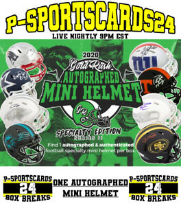 2020-GOLD-RUSH-AUTOGRAPHED-FOOTBALL-SPECIALITY-MINI-HELMET-LIVE-BOX-BREAK-3804