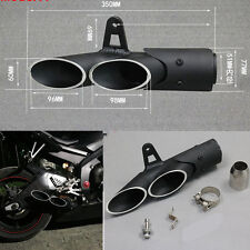Two-Hole Black Aluminum Motorcycle Exhaust Muffler Pipe Kit +38-51mm Clamp Right
