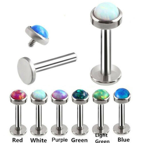 Opale Crystal Body Piercing Lèvre Nez Stud Labret Anneau Bar Club Bijoux 6-8 mm Cyn