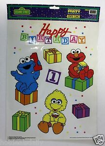 Image Is Loading SESAME STREET HAPPY BIRTHDAY WINDOW CLINGS GROVER ELMO