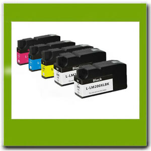 5PK-Lexmark-200XL-Compatible-Ink-Cartridges-For-OfficeEdge-Pro-4000-5000-5500