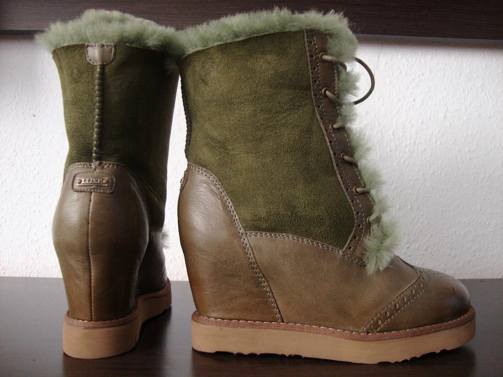 Australia Luxe brogue wedge botas de plataforma señora botas zapatos de piel nuevo