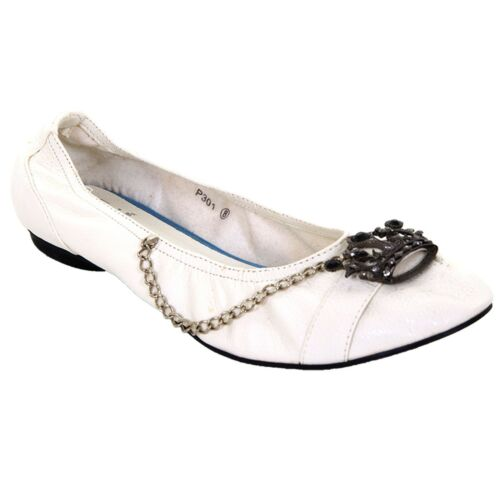 On Jewelled Flats Crown Women's Ladies Leather Chain Shoes Slip White Pu RwgWqPpB