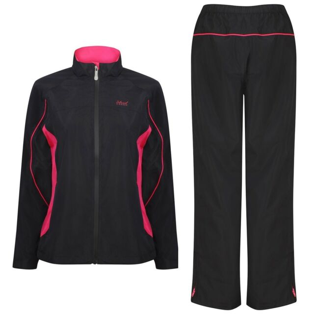 Ladies Island Green Waterproof Breathable Golf Suit Black + Fuchsia Pink 12 New