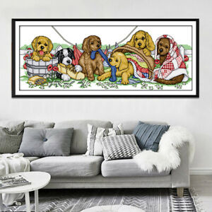Dimensions-Stamped-Cross-Stitch-Kit-14CT-Aida-Cloth-Lovely-Dogs-Pattern