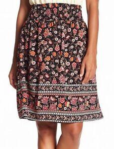Bobeau Womens Skirt Classic Black Size Large L Floral Print Straight $59 553