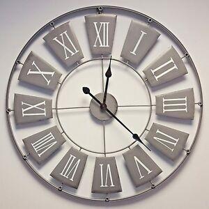 Image Is Loading Large Grey Skeleton Wall Clock Shabby Chic Vintage