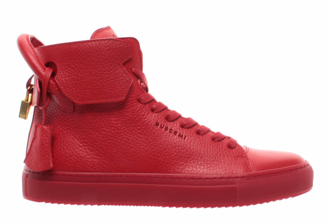 BUSCEMI Men's Shoes Sneakers Red Pelle Calf Leather Gold 125MM Handmade ITALY