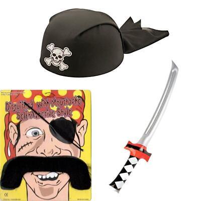 3 Pz Set Pirata Costume Spada Gonfiabile Benda Sull'occhio Pirata Cappello E Baffi-mostra Il Titolo Originale
