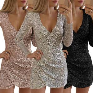 pailletten damen partykleid clubwear vausschnitt langarm abendkleider minikleid  ebay