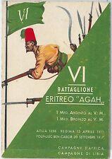 "CARTOLINA d'Epoca - REGIMENTALE COLONIALE - XII Battaglione ERITREO ""AGAH"""