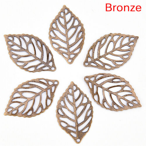 50X Charm Filigree Hollow Leaves Pendant Jewelry Making Leaves Metal Craft JC