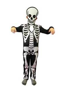 Image is loading CHILDRENS-SKELETON-COSTUME-&-MASK-BOY-GIRL-KIDS-  sc 1 st  eBay & CHILDRENS SKELETON COSTUME u0026 MASK BOY GIRL KIDS HALLOWEEN FANCY ...