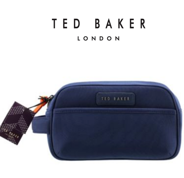 New TED BAKER 2018 Design Mens Large Navy Canvas Dopp Kit Sports Wash Gift  Bag f0954df692ceb