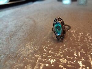 #114-VINTAGE STERLING SILVER ABALONE RING--SIZE-8