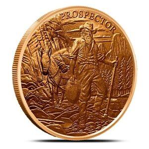 United States Prospector Series Pony Express 1 oz .999 Fine Cu Copper Round U.S